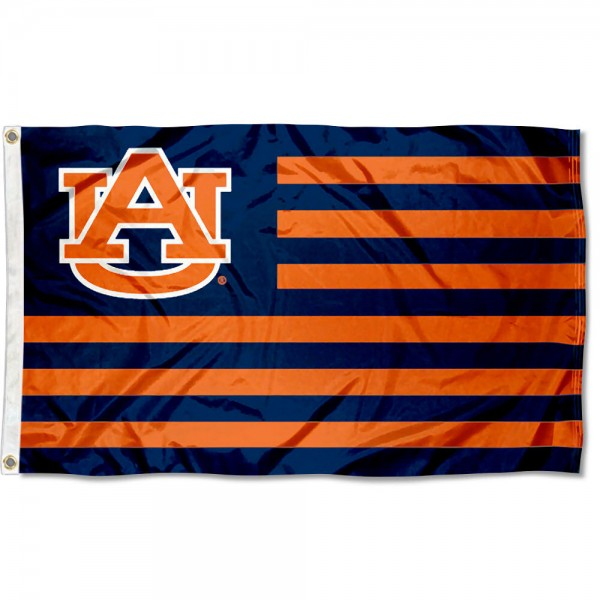 Auburn Tigers Striped Flag measures 3'x5', is made of polyester, offers quad stitched flyends for durability, has two metal grommets, and is viewable from both sides with a reverse image on the opposite side. Our Auburn Tigers Striped Flag is officially licensed by the selected school university and the NCAA.