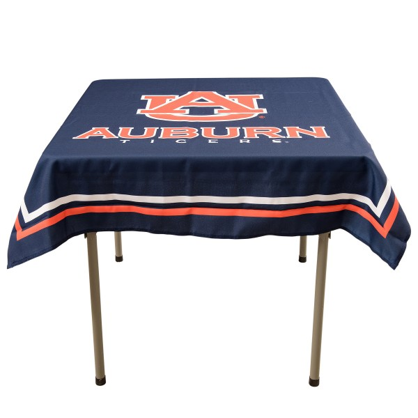 Auburn Tigers Table Cloth measures 48 x 48 inches, is made of 100% Polyester, seamless one-piece construction, and is perfect for any tailgating table, card table, or wedding table overlay. Each includes Officially Licensed Logos and Insignias.