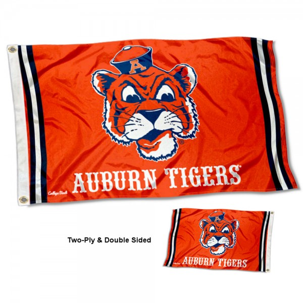 Auburn Tigers Throwback Double Sided Flag measures 3'x5', is made of 2 layer 100% polyester, has quadruple stitched flyends for durability, and is readable correctly on both sides. Our Auburn Tigers Throwback Double Sided Flag is officially licensed by the university, school, and the NCAA.