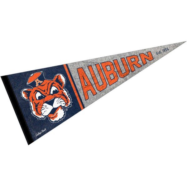 Auburn Tigers Throwback Retro Vintage Pennant Flag is 12x30 inches, is made of wool and felt, has a pennant stick sleeve, and the Auburn Tigers logos are single sided screen printed. Our Auburn Tigers Throwback Retro Vintage Pennant Flag is licensed by the university.