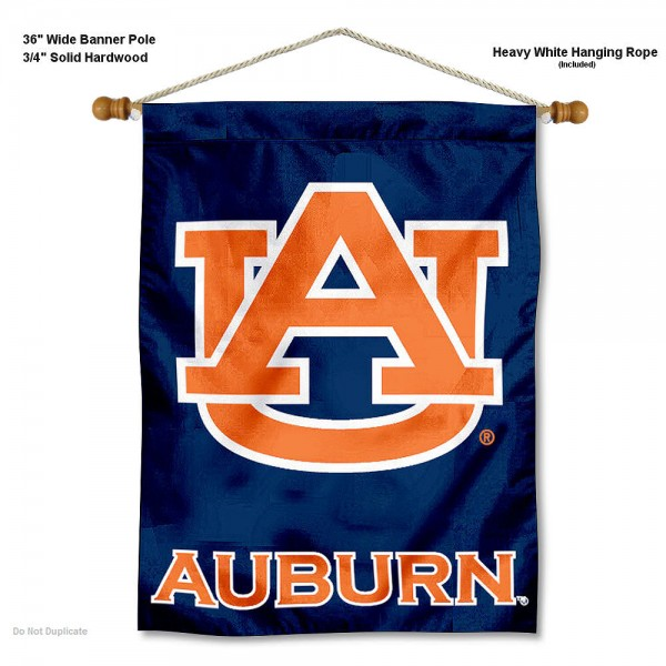 "Auburn Tigers Wall Banner is constructed of polyester material, measures a large 30""x40"", offers screen printed athletic logos, and includes a sturdy 3/4"" diameter and 36"" wide banner pole and hanging cord. Our Auburn Tigers Wall Banner is Officially Licensed by the selected college and NCAA."