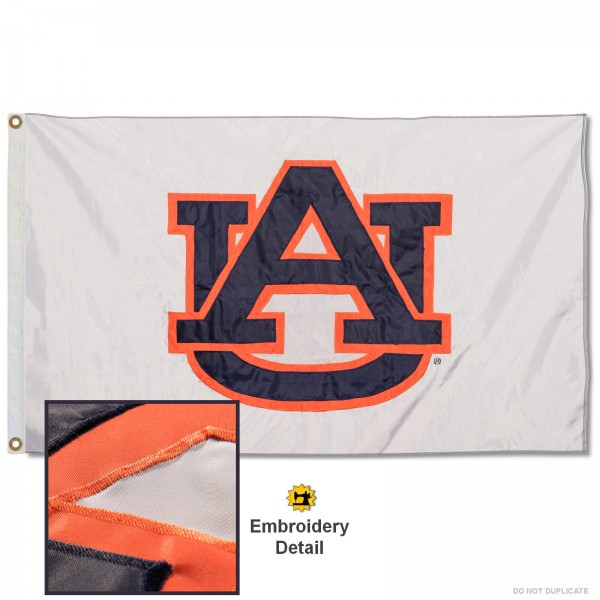 Auburn Tigers Whiteout Nylon Embroidered Flag measures 3'x5', is made of 100% nylon, has quadruple flyends, two metal grommets, and has double sided appliqued and embroidered University logos. These Auburn Tigers Whiteout 3x5 Flags are officially licensed by the selected university and the NCAA.
