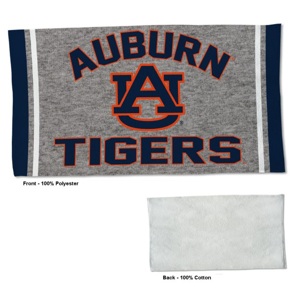 Auburn Tigers Workout Exercise Towel measures 22x42 inches, is made of 100% Polyester on the front and 100% Cotton on the back, has double stitched sewing perimeter, and Graphics and Logos, as shown. Our Auburn Tigers Workout Exercise Towel is officially licensed by the selected university and the NCAA. Also, machine washable and dryer safe.