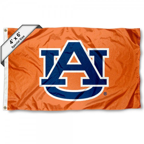 Auburn University 4x6 Flag measures 4x6 feet, is made thick woven polyester, has quadruple stitched flyends, two metal grommets, and offers screen printed NCAA Auburn University athletic logos and insignias. Our Auburn University 4x6 Flag is officially licensed by Auburn University and the NCAA.