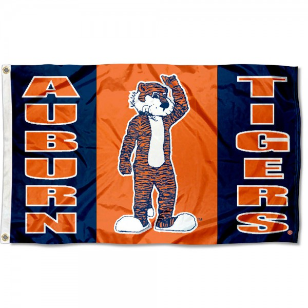 Auburn University Aubie Flag measures 3'x5', is made of 100% poly, has quadruple stitched sewing, two metal grommets, and has double sided Auburn University logos. Our Auburn University Aubie Flag is officially licensed by the selected university and the NCAA.