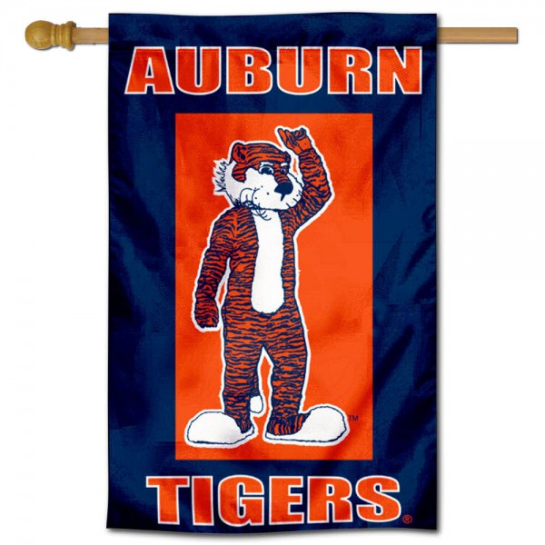 Auburn University Aubie Mascot House Flag is a vertical house flag which measures 30x40 inches, is made of 2 ply 100% polyester, offers dye sublimated NCAA team insignias, and has a top pole sleeve to hang vertically. Our Auburn University Aubie Mascot House Flag is officially licensed by the selected university and the NCAA.
