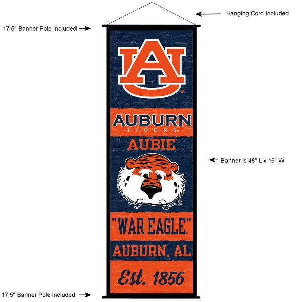 "This ""ready to hang"" Auburn University Decor and Banner is made of polyester material, measures a large 17.5"" x 48"", offers screen printed athletic logos, and includes both top and bottom 3/4"" diameter plastic banner poles and hanging cord. Our Auburn University D�cor and Banner is Officially Licensed by the selected college and NCAA."