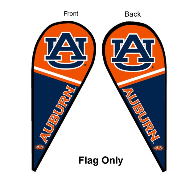 Auburn University Feather Flag is 9 feet by 3 feet and is a tall 10' when fully assembled. The feather flag is made of thick polyester and is readable and viewable on both sides. The screen printed Auburn Tigers double sided logos are NCAA Officially Licensed and is Team and University approved.