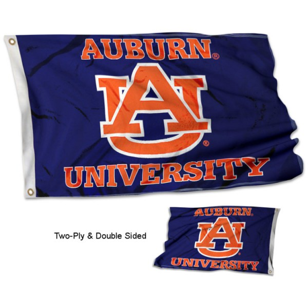 Auburn University Flag measures 3'x5', is made of 2 layer 100% polyester, has quadruple stitched flyends for durability, and is readable correctly on both sides. Our Auburn University Flag is officially licensed by the university, school, and the NCAA