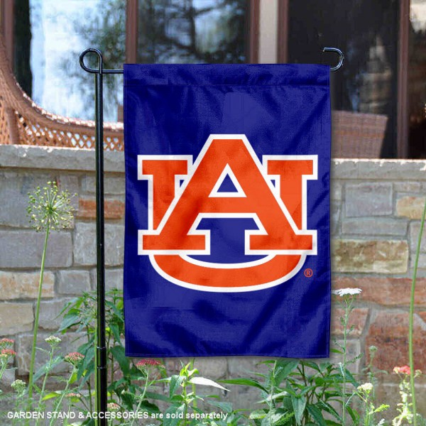 Auburn University Garden Flag is made of 100% polyester, measures 13x18 inches, and has screen printed NCAA School insignias and lettering. The Auburn University Garden Flag is approved by Auburn University and NCAA and university garden flags are great for your entranceway, garden, yard, mailbox, or window.