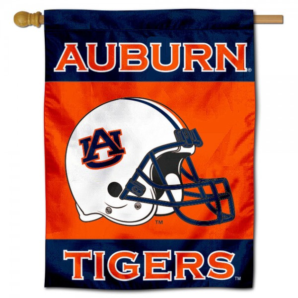 Auburn University Helmet House Flag is a vertical house flag which measures 30x40 inches, is made of 2 ply 100% polyester, offers dye sublimated NCAA team insignias, and has a top pole sleeve to hang vertically. Our Auburn University Helmet House Flag is officially licensed by the selected university and the NCAA.