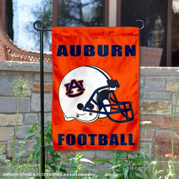 Auburn University Football Helmet Garden Banner is 13x18 inches in size, is made of 2-layer polyester, screen printed Auburn Tigers athletic logos and lettering. Available with Same Day Express Shipping, Our Auburn University Football Helmet Garden Banner is officially licensed and approved by Auburn Tigers and the NCAA.