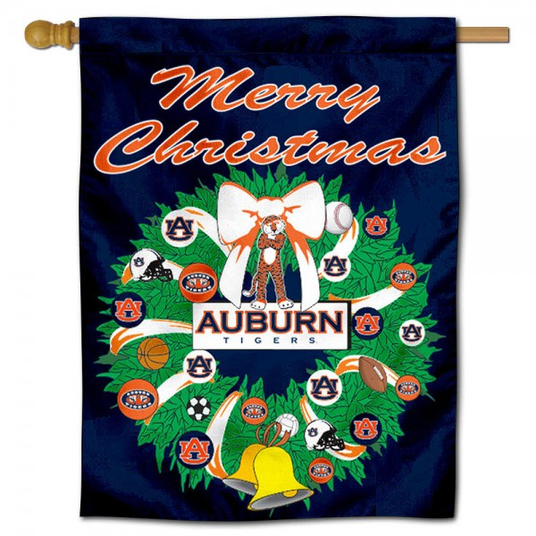 Auburn University Holiday Flag is a decorative house flag, 30x40 inches, made of 100% polyester, Holiday NCAA team insignias, and has a top pole sleeve to hang vertically. Our Auburn University Holiday Flag is officially licensed by the selected university and the NCAA.