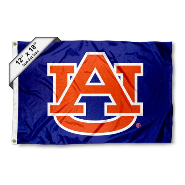Auburn University Mini Flag is 12x18 inches, polyester, offers quadruple stitched flyends for durability, has two metal grommets, and is double sided. Our mini flags for Auburn University are licensed by the university and NCAA and can be used as a boat flag, motorcycle flag, golf cart flag, or ATV flag