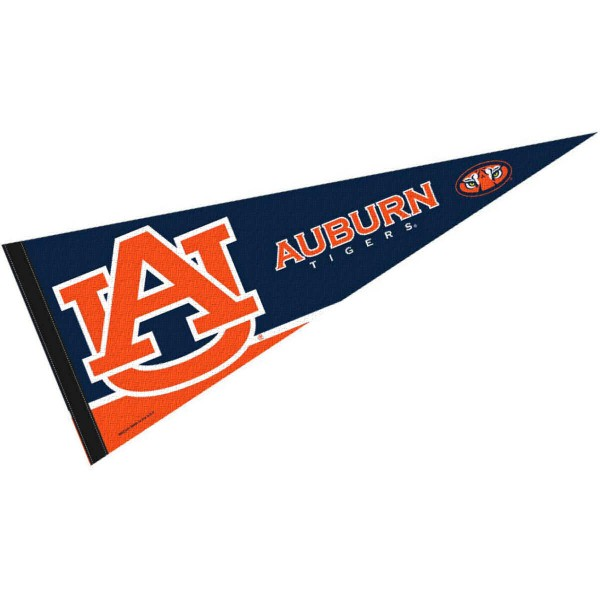 Auburn University Pennant consists of our full size sports pennant which measures 12x30 inches, is constructed of felt, is single sided imprinted, and offers a pennant sleeve for insertion of a pennant stick, if desired. This AU Tigers Pennant Decorations is Officially Licensed by the selected university and the NCAA.