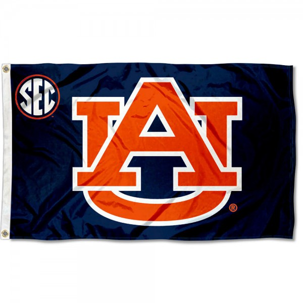 Auburn University SEC Flag measures 3'x5', is made of 100% poly, has quadruple stitched sewing, two metal grommets, and has double sided Team University logos. Our Auburn University SEC Flag is officially licensed by the selected university and the NCAA.
