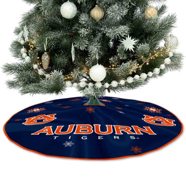 Auburn University Tigers Christmas Tree Skirt measures 56 inches circle, is made of 150d polyester, has a contrasting color border. Each college xmas tree skirt includes Officially Licensed Logos and Insignias.