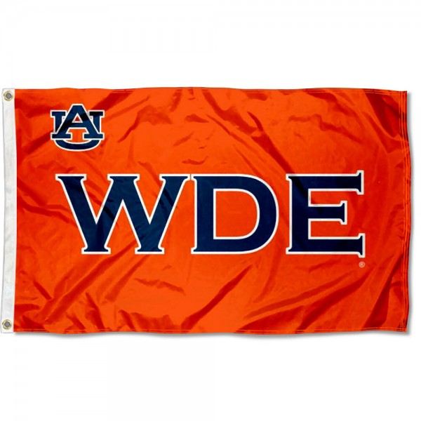 Auburn University WDE Flag measures 3'x5', is made of 100% poly, has quadruple stitched sewing, two metal grommets, and has double sided War Eagle logos. Our Auburn University WDE Flag is officially licensed by the selected university and the NCAA.