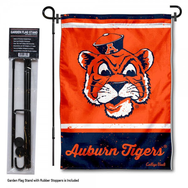 "Auburn Vintage Retro Throwback Garden Flag and Flagpole kit includes our 12.5""x18"" garden banner which is made of 2 ply poly with liner and has screen printed licensed logos. Also, a 40""x17"" inch garden flag stand is included so your Auburn Vintage Retro Throwback Garden Flag and Flagpole is ready to be displayed with no tools needed for setup. Fast Overnight Shipping is offered and the flag is Officially Licensed and Approved by the selected team."