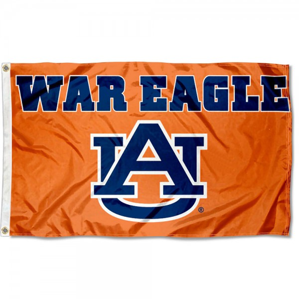 This Auburn War Eagle Flag measures 3'x5', is made of 100% nylon, has quad-stitched sewn flyends, and has two-sided Auburn War Eagle printed logos. Our Auburn War Eagle Flag is officially licensed and all flags for Auburn War Eagle are approved by the NCAA and Same Day UPS Express Shipping is available.