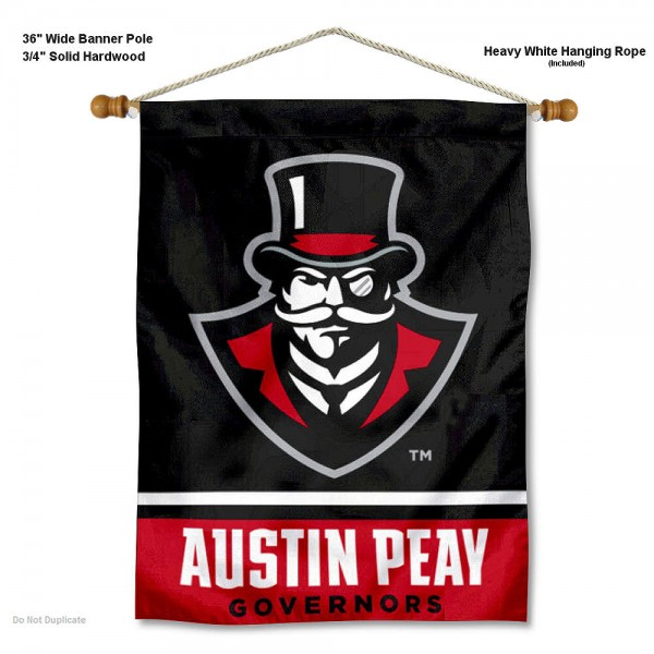 "Austin Peay Governors Wall Banner is constructed of polyester material, measures a large 30""x40"", offers screen printed athletic logos, and includes a sturdy 3/4"" diameter and 36"" wide banner pole and hanging cord. Our Austin Peay Governors Wall Banner is Officially Licensed by the selected college and NCAA."