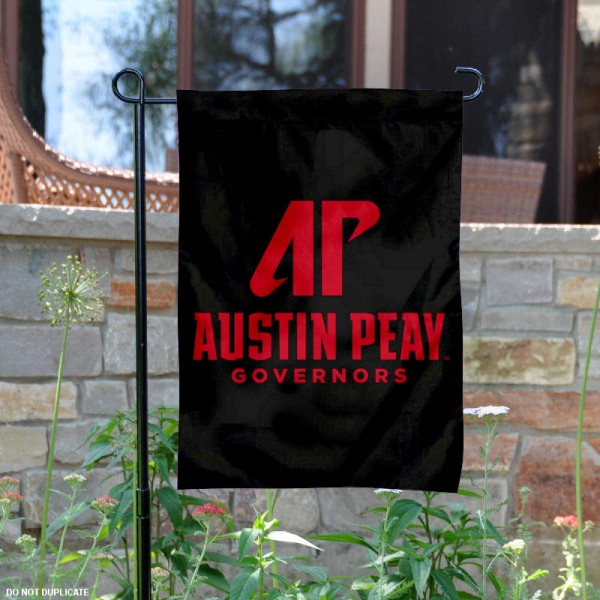 Austin Peay State University Garden Flag is 13x18 inches in size, is made of 2-layer polyester, screen printed university athletic logos and lettering, and is readable and viewable correctly on both sides. Available same day shipping, our Austin Peay State University Garden Flag is officially licensed and approved by the university and the NCAA.