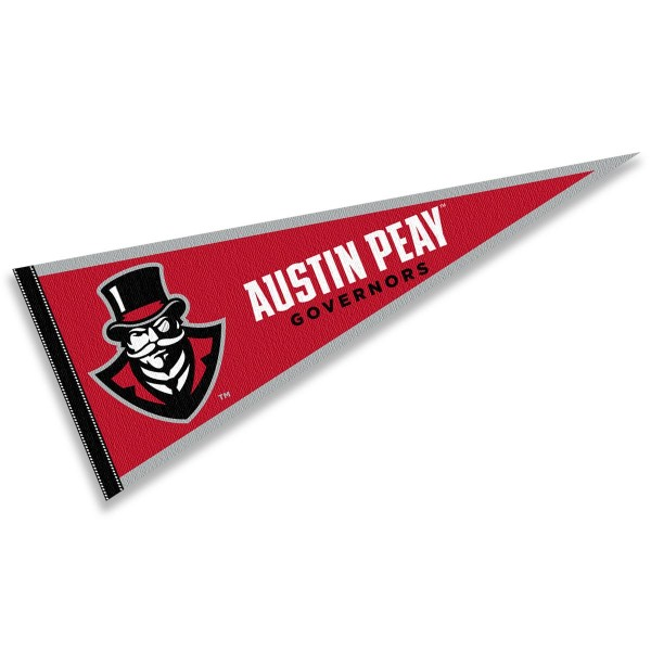 Austin Peay State University Governors Pennant consists of our full size sports pennant which measures 12x30 inches, is constructed of felt, is single sided imprinted, and offers a pennant sleeve for insertion of a pennant stick, if desired. This Austin Peay State University Governors Pennant Decorations is Officially Licensed by the selected university and the NCAA.