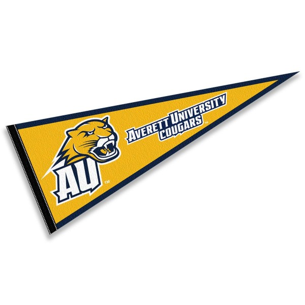 Averett University Cougars Pennant consists of our full size sports pennant which measures 12x30 inches, is constructed of felt, is single sided imprinted, and offers a pennant sleeve for insertion of a pennant stick, if desired. This Averett University Cougars Pennant Decorations is Officially Licensed by the selected university and the NCAA.