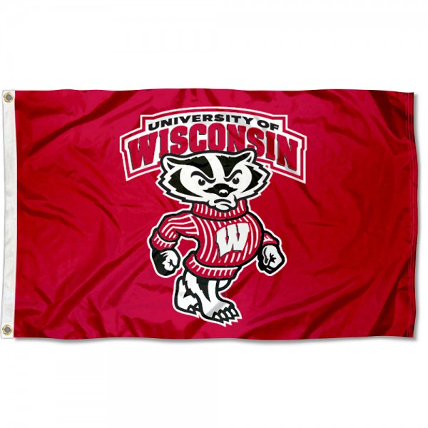Badgers Flag is made of polyester, measures 3'x5', offers double stitched flyends for durability, has two metal grommets, and is viewable from both sides with a reverse image on the opposite side. Our Badgers Flag is officially licensed by the selected university and the NCAA.