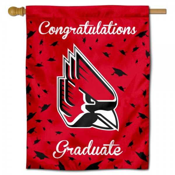 Ball State Cardinals Congratulations Graduate Flag measures 30x40 inches, is made of poly, has a top hanging sleeve, and offers dye sublimated Ball State Cardinals logos. This Decorative Ball State Cardinals Congratulations Graduate House Flag is officially licensed by the NCAA.