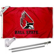 Ball State Cardinals Flag Pole and Bracket Kit