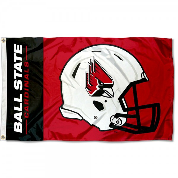 Ball State Cardinals Football Helmet Flag measures 3x5 feet, is made of 100% polyester, offers quadruple stitched flyends, has two metal grommets, and offers screen printed NCAA team logos and insignias. Our Ball State Cardinals Football Helmet Flag is officially licensed by the selected university and NCAA.
