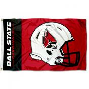 Ball State Cardinals Football Helmet Flag