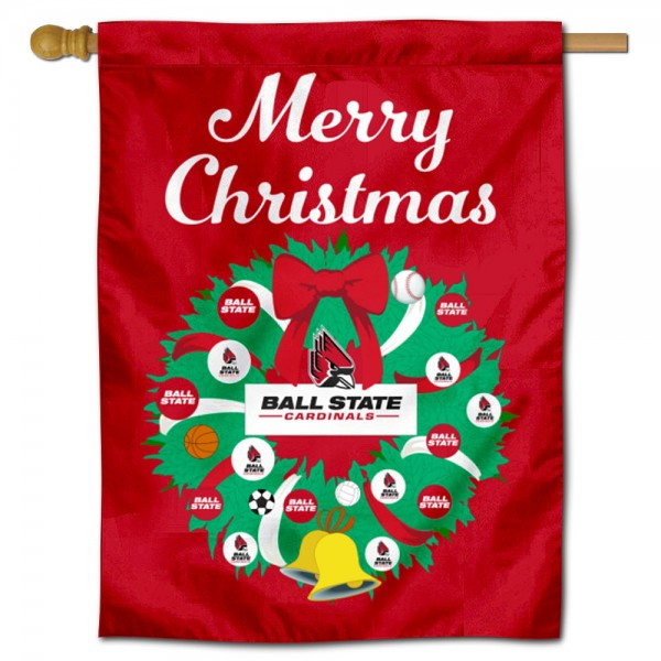 Ball State Cardinals Happy Holidays Banner Flag measures 30x40 inches, is made of poly, has a top hanging sleeve, and offers dye sublimated Ball State Cardinals logos. This Decorative Ball State Cardinals Happy Holidays Banner Flag is officially licensed by the NCAA.
