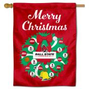 Ball State Cardinals Happy Holidays Banner Flag