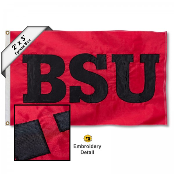 Ball State Cardinals Small 2'x3' Flag measures 2x3 feet, is made of 100% nylon, offers quadruple stitched flyends, has two brass grommets, and offers embroidered Ball State Cardinals logos, letters, and insignias. Our 2x3 foot flag is Officially Licensed by the selected university.