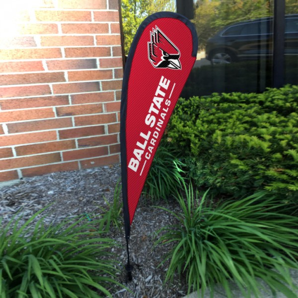 Ball State Cardinals Small Feather Flag measures a 4' tall when fully assembled and roughly 1' wide. The kit includes a Feather Flag, 2 Piece Fiberglass Pole, pole connector, and matching Ground Stake. Our Ball State Cardinals Small Feather Flag easily assembles and is NCAA Officially Licensed by the selected school or university.