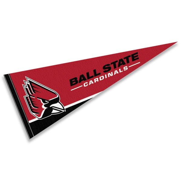 Ball State University Felt Pennant consists of our full size sports pennant which measures 12x30 inches, is constructed of felt, is single sided imprinted, and offers a pennant sleeve for insertion of a pennant stick, if desired. This BSU Cardinals Felt Pennant is officially licensed by the selected university and the NCAA.