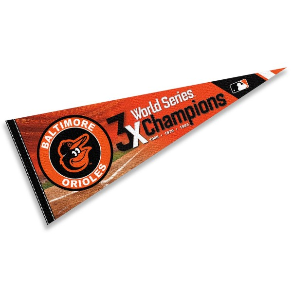 This Baltimore Orioles 3 Time World Series Champions Pennant measures 12x30 inches, is constructed of felt, and is single sided screen printed with the Baltimore Orioles logo and insignia. Each Baltimore Orioles 3 Time World Series Champions Pennant is a MLB Genuine Merchandise product.