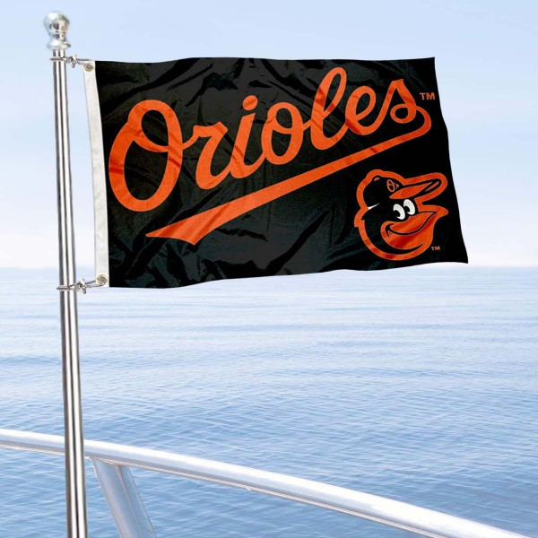 "Our Baltimore Orioles Boat and Nautical Flag is 12""x18"", made of three-ply poly, has a solid header with two metal grommets, and is double sided. This Boat and Nautical Flag for Baltimore Orioles is Officially Licensed by the MLB and can also be used as a motorcycle flag, boat flag, golf cart flag, or recreational flag."