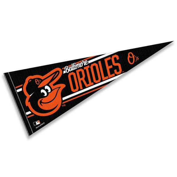 This Baltimore Orioles Pennant measures 12x30 inches, is constructed of felt, and is single sided screen printed with the Baltimore Orioles logo and insignia. Each Baltimore Orioles Pennant is a MLB Genuine Merchandise product.