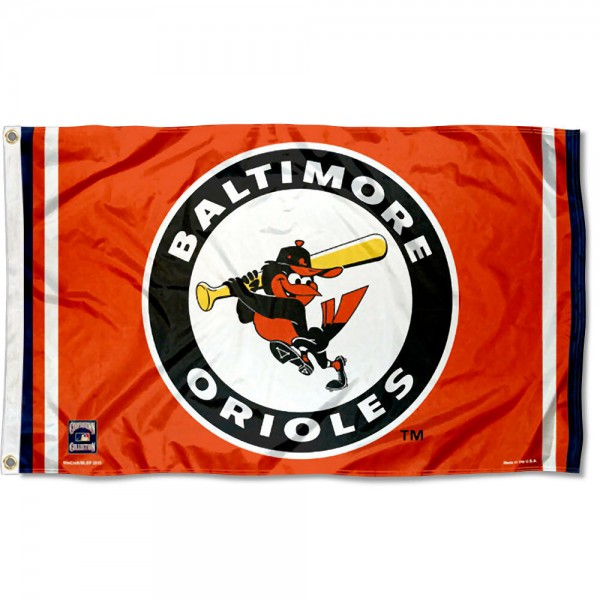 Our Baltimore Orioles Vintage Flag is double sided, made of poly, 3'x5', has two grommets, and four-stitched fly ends. These Baltimore Orioles Vintage Flags are Officially Licensed by the MLB.