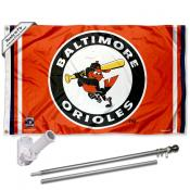 Baltimore Orioles Vintage Retro Flag Pole and Bracket Kit
