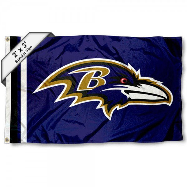 Baltimore Ravens 2x3 Feet Flag measures 2'x3', is made polyester, has quadruple stitched flyends, two metal grommets, and offers screen printed NFL Baltimore Ravens logos and insignias. Our Baltimore Ravens 2x3 Foot Flag is NFL Officially Licensed and approved.