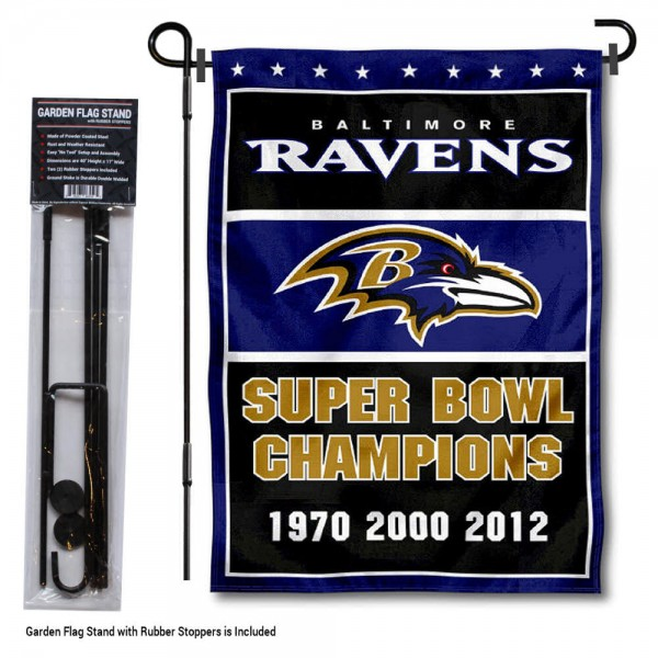 """Baltimore Ravens 3 Time Champions Garden Banner and Flag Stand kit includes our 13""""x18"""" garden banner which is made of 2 ply poly with liner and has screen printed licensed logos. Also, a 40""""x17"""" inch garden flag stand is included so your Baltimore Ravens 3 Time Champions Garden Banner and Flag Stand is ready to be displayed with no tools needed for setup. Fast Overnight Shipping is offered and the flag is Officially Licensed and Approved by the selected team."""