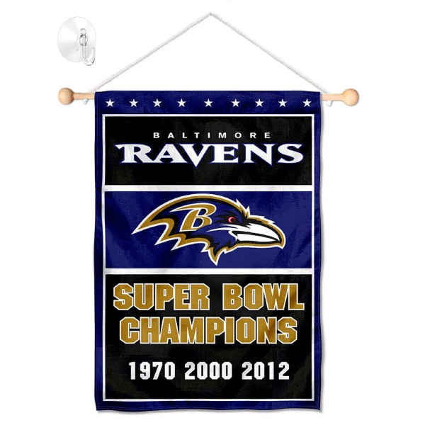 "Baltimore Ravens 3 Time Champions Window and Wall Banner kit includes our 12.5""x18"" garden banner which is made of 2 ply poly with liner and has screen printed licensed logos. Also, a 17"" wide banner pole with suction cup is included so your Baltimore Ravens 3 Time Champions Window and Wall Banner is ready to be displayed with no tools needed for setup. Fast Overnight Shipping is offered and the flag is Officially Licensed and Approved by the selected team."