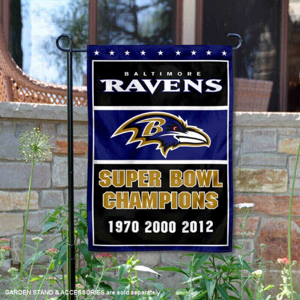 Baltimore Ravens 3 Time Super Bowl Champs Garden Flag is 12.5x18 inches in size, is made of 2-ply polyester, and has two sided screen printed logos and lettering. Available with Express Next Day Ship, our Baltimore Ravens 3 Time Super Bowl Champs Garden Flag is NFL Officially Licensed and is double sided.