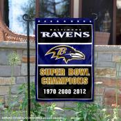 Baltimore Ravens 3 Time Super Bowl Champs Garden Flag