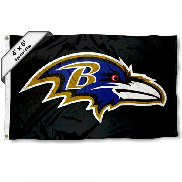 Baltimore Ravens 4x6 Flag measures a large 4x6 feet, is made polyester, has quadruple stitched flyends, two metal grommets, and offers screen printed NFL Baltimore Ravens logos and insignias. Our Baltimore Ravens 4x6 Foot Flag is NFL Officially Licensed and Baltimore Ravens approved.