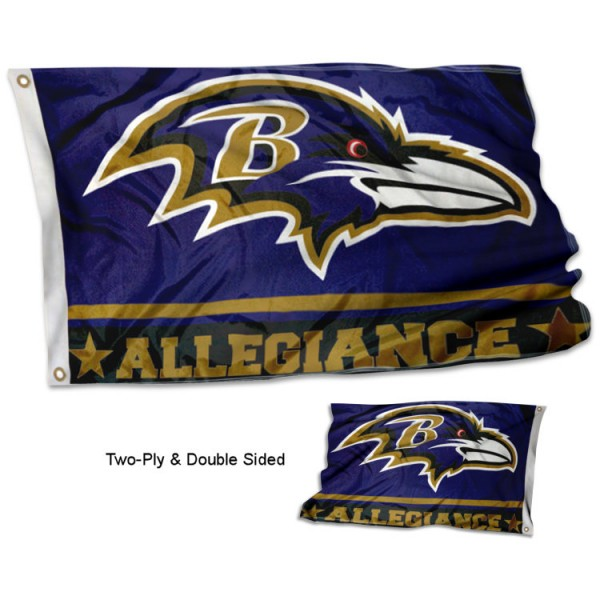 Baltimore Ravens Allegiance Flag measures 3'x5', is made of 2-ply double sided polyester with liner, has quadruple stitched sewing, two metal grommets, and has two sided team logos. Our Baltimore Ravens Allegiance Flag is officially licensed by the selected team and the NFL and is available with overnight express shipping.